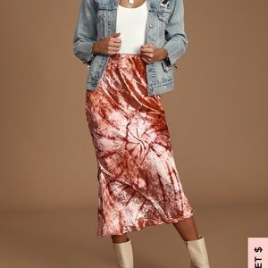 NEW NWT Free People Serious Swagger Midi Skirt M
